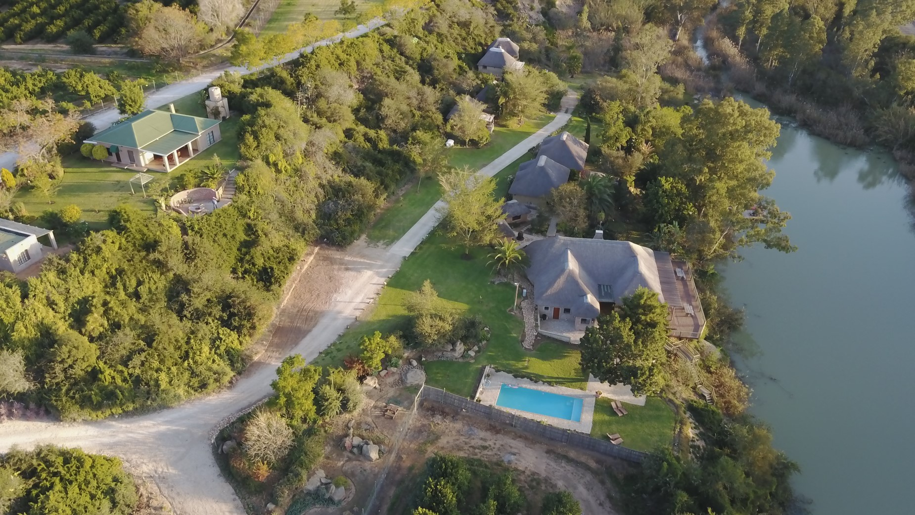 Aerial pic of Riverside Chalets _ Riverside Venue