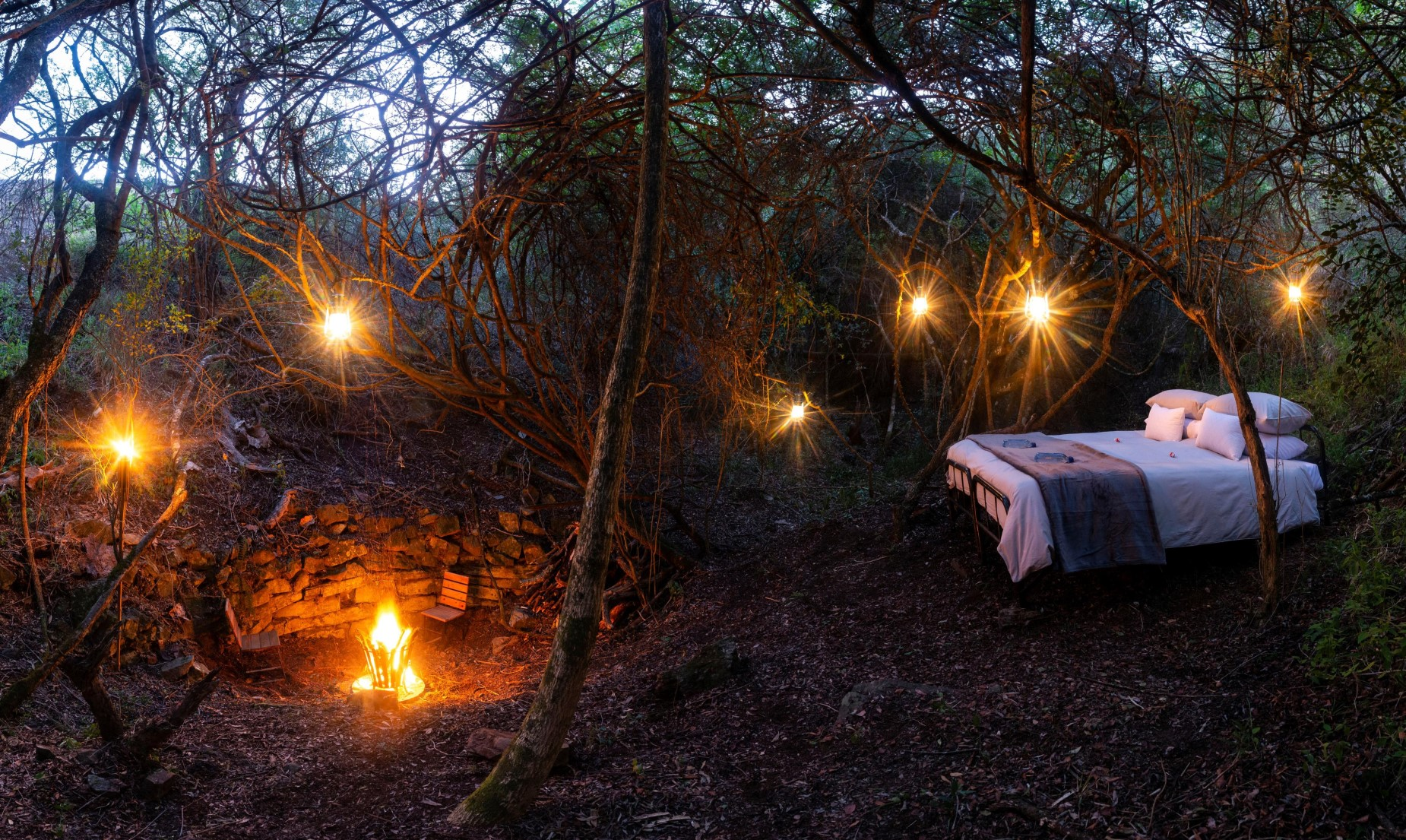 StarGazer beds with romantic beds and settings with lanterns