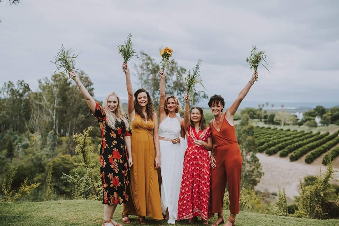Bride & Colourful Bridesmaids