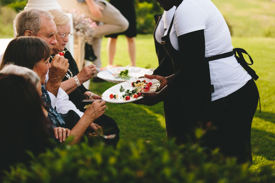 Canapes on the lawn